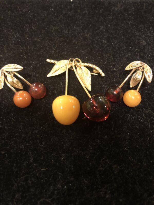 Antique Vintage AMBER Demi Set Brooch Pin Earrings Pierced Signed 12k GF RARE!