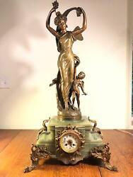 Large Antique Art Nouveau French Bronze Mantel Clock