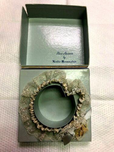 Antique Nettie Rosenstein Garter-Ribbon, Rose Bud, Wishbone & Rice-Original Box