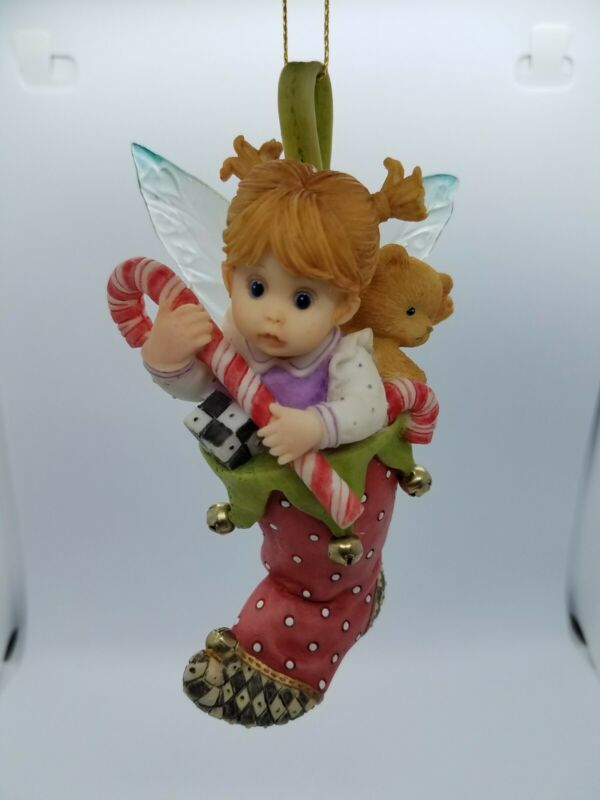 Fairie in Stocking Candy Cane Farie Haning Ornament My Little Kitchen Enesco
