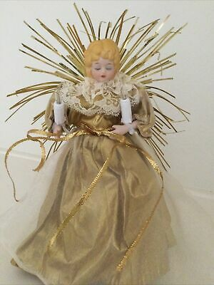 Vintage CHRISTMAS TREE TOPPER - Beautiful Ceramic ANGEL - Lights Up - GOLD