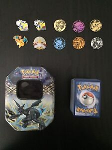 200 Pokémon cards, 4 pins, 6 chips and 1 tin case
