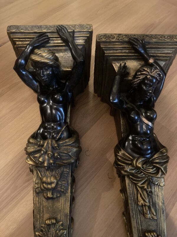 Pair of Blackamoor Console Statue Brackets Shelves Sconces Black & Gold Nubian