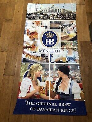 "Hofbrau Munchen Beer Cloth Banner. Measures 58"" Tall & 26 1/2"" Wide. Brand New"
