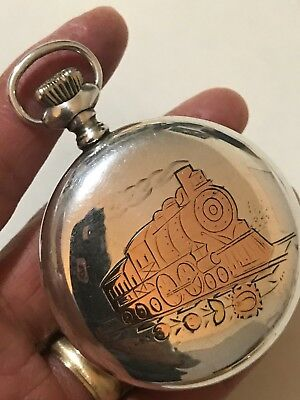 WOW 18S Illinois Elgin Sterling Silver Railroad Pocket Watch Case Inlay Train