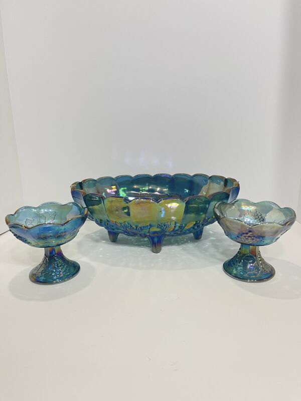 Vintage Indiana 3 Piece Blue Carnival Glass Footed Oval Bowl With Candle Sticks