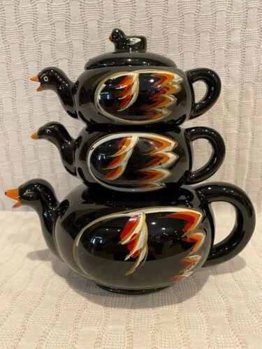Vintage Redware Set of 3 Stacking tea set Ducks Black tea sugar Creamer