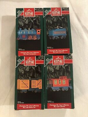 Vintage Hallmark Keepsake Ornaments Christmas Sky Line Train - Complete Set -NIB