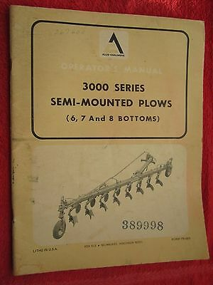 Vintage Allis Chalmers 3000 Series 6 7 8 Bottom Plow Operators Manual