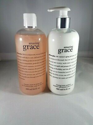 PHILOSOPHY Amazing Grace Firming Body Emulsion + Shower Gel 16 fl oz each -