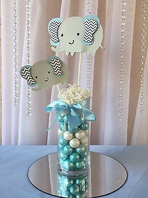 Light blue elephant  centerpieces stick/ Elephant baby shower/ Elephant theme](Light Centerpieces)