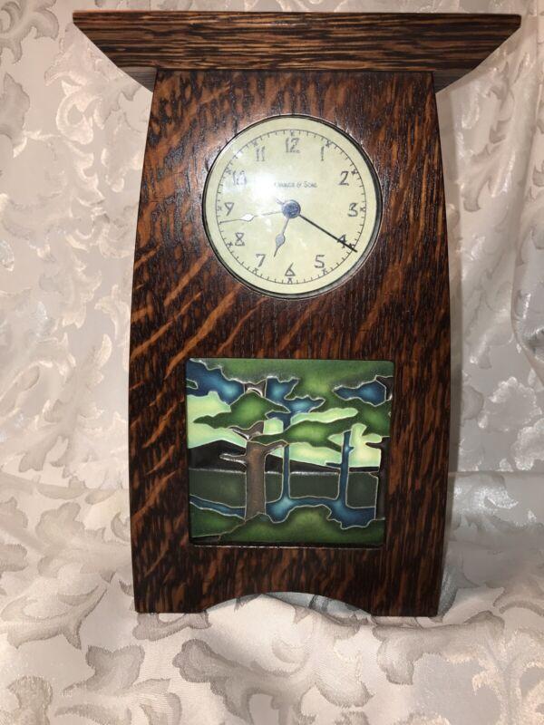 Schlabaugh & Sons Arts & Crafts Oak Clock Signed Motawi Tile Mountain Pine Trees