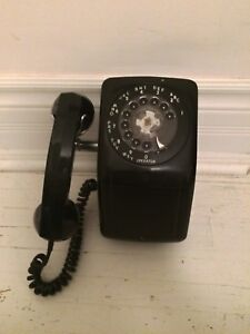 Black Rotary Wall Phone