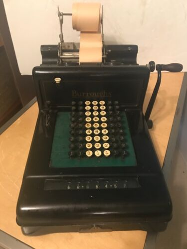 Burroughs VTG Adding Machine w/Hand Crank -Early 20th Century - Looks Great!