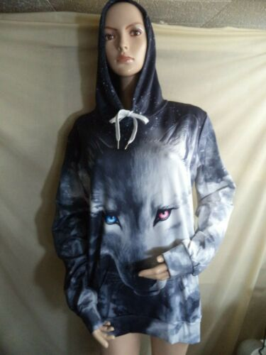 Luxury Wolf Man's Hoodie Black & White Print All Over Polyester Blend XL NIP