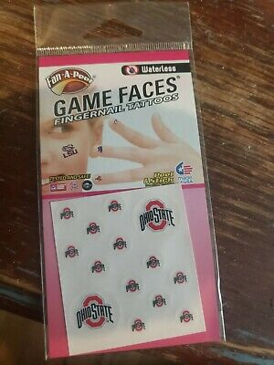 Ohio state buckeyes Game Faces FINGERNAIL-- Temporary Waterless Tattoos=  =