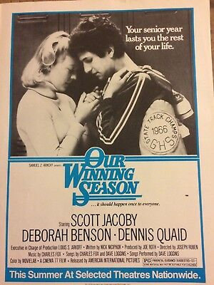 Our Winning Season, Scott Jacoby Deborah Benson Full Page Vintage Promotional Ad