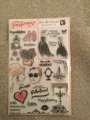 DEBBIE MOORE DESIGNS HELLO GORGEOUS RUBBER STAMP SET CARDMAKING NEW  HEART ,LOVE for sale  Broadstone