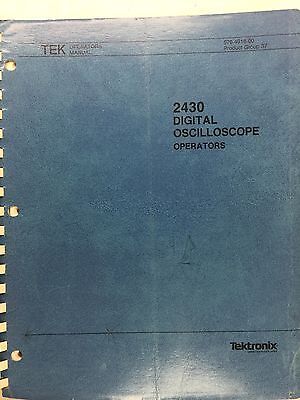 Tektronix 2430 Digital Oscilloscope Operator Manual Pn 070-4918-00 Rev 986
