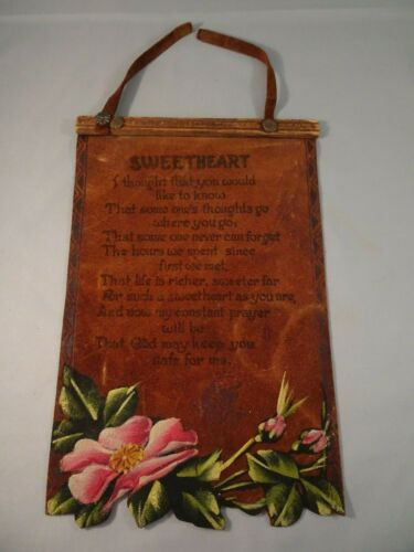 Vintage LEATHER WALL-HANGING TO SWEETHEART Souvenir From BLOWING ROCK NC