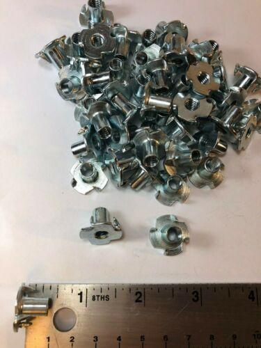 """1/4-20 Tee Nut T-Nut 4-Prong Zinc Plated Steel 7/16"""" OAL Barrel QTY-250"""