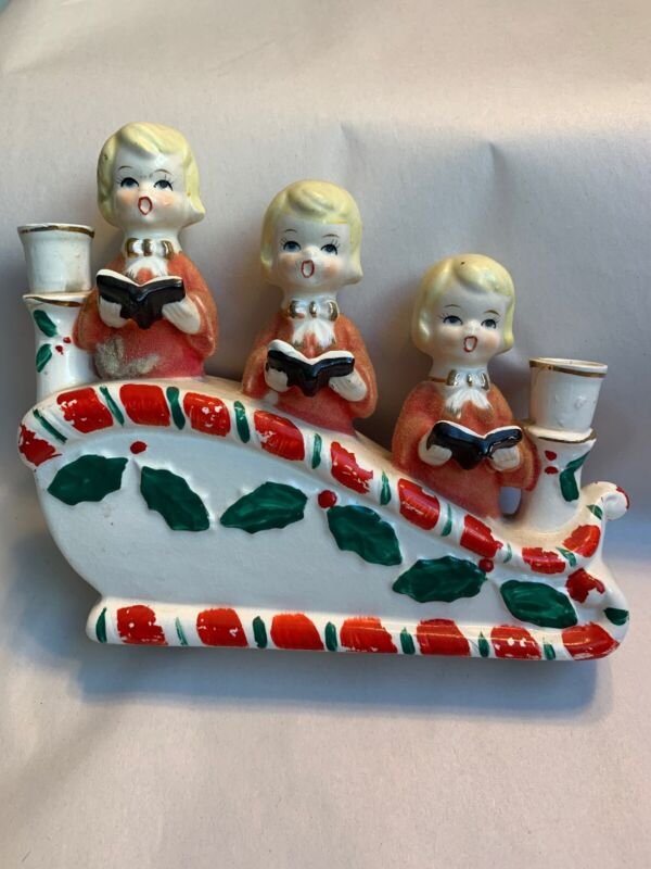 Vtg Christmas Ucagco Triple Choir Girls Candle Holders Flocked Gowns 1950s. #W