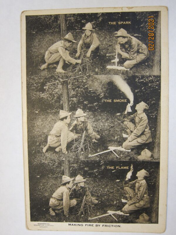 Boy Scout Vintage Postcard- Making Fire By Friction