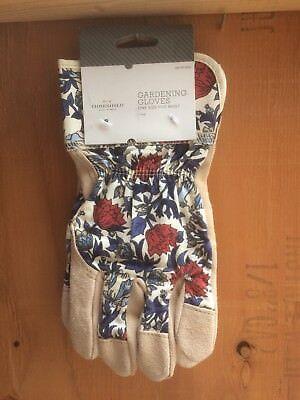 New Threshold Split Leather Gardening Glove, Blue Floral Ladies Gardening Gloves ()