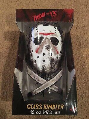 Friday the 13th JASON Ski Mask 16 OZ TUMBLER PINT GLASS NEW IN BOX  - Jason Mask Original