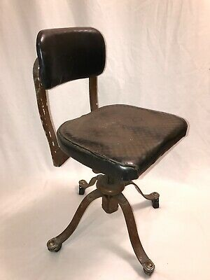 VTG Remington Rand Industrial Office Chair Metal Swivel Vinyl *Restore Project* for sale  Shipping to Nigeria