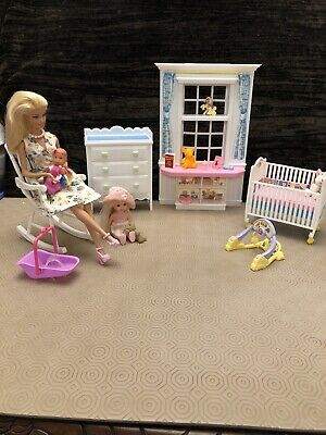 Barbie Nursery With Furniture, Baby,Big Sister,Clothing And Accessories Bundle