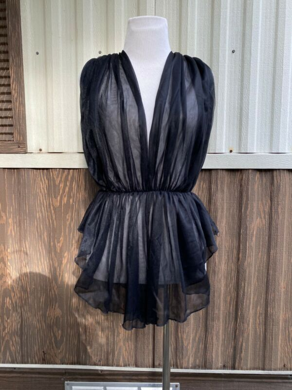 VTG Vintage Fantary Lingerie teddy black lace sexy babydoll ONESIZE made in USA