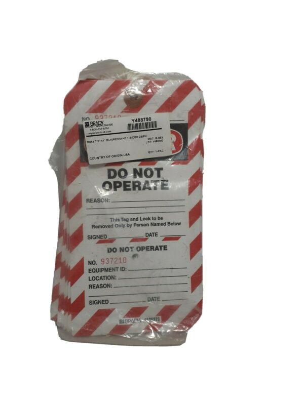 Lot of 25 NEW BRADY 66063 Lockout Tags: DANGER: DO NOT OPERATE TAG B-853