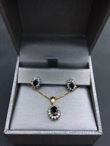 Diamond & Sapphire earrings/pendant set
