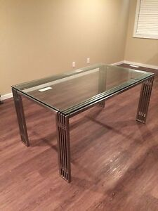 Modern Metal and Glass Dining Table Edmonton Edmonton Area image 1