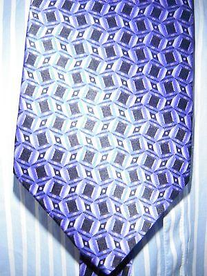 """Unworn Purple & Black Charleston Pure Silk Tie. Made In Italy. .4"""" Wide 60"""" Long"""