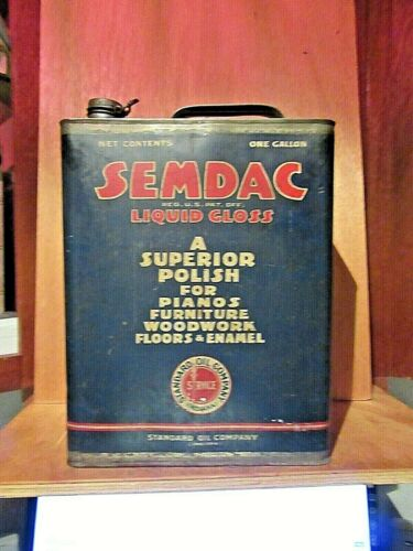 VINT. SEMDAC LIQUID GLOSS POLISH CAN STANDARD OIL CO. IND. USA EMPTY ONE GALLON