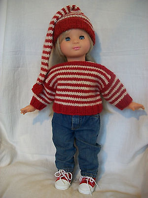 """18"""" Doll Knitting Pattern will fit American Girl Striped Boatneck Stocking Cap"""