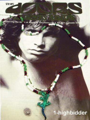 "21"" Jim Morrison Green Lizard King Pendant Bead Necklace Orig Green White Doors"