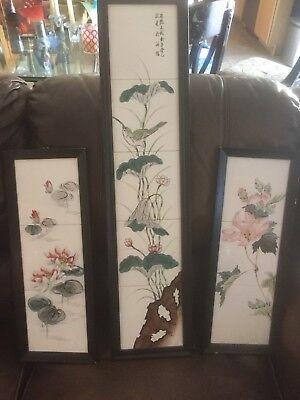 Set of 3 Vintage Japanese Bird & Floral Tile Art by H. Kanaya