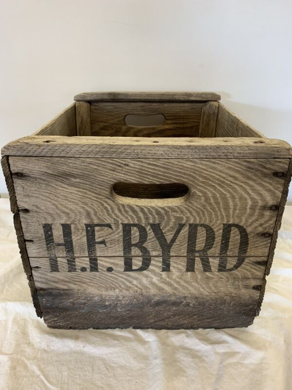 VINTAGE  H. F. BYRD Wooden Bushel Apple Crate ~ Wood Shipping Crate ~ Virginia