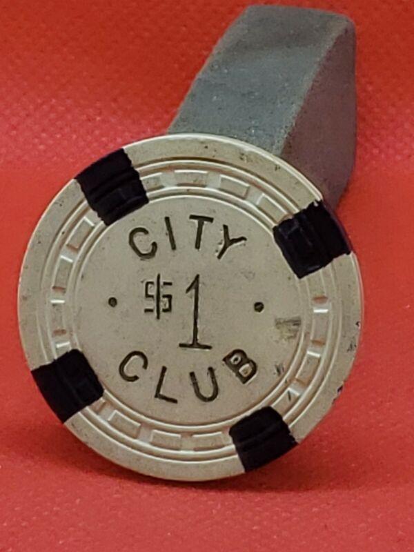 Rare Vintage 1948 City Club, NV Casino $1 Chip
