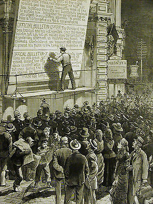 Broadway NYC Bulletin Board PRESIDENT RELAPSES Electric Light 1881 Print Matted