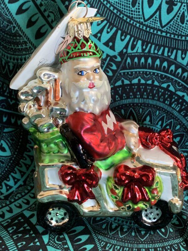 "Radko A ROLL IN ONE Golfing Golf cart Santa Clause 5.5"" 00071-0 NWT Tennis Claus"
