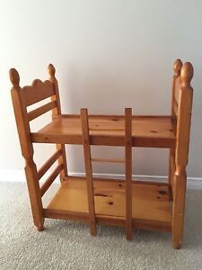 Solid wood bunk bed for dolls