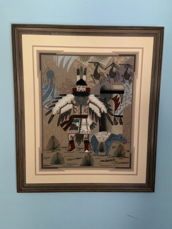 Navajo Native American Sand Painting By Artist Keith Silversmith Signed