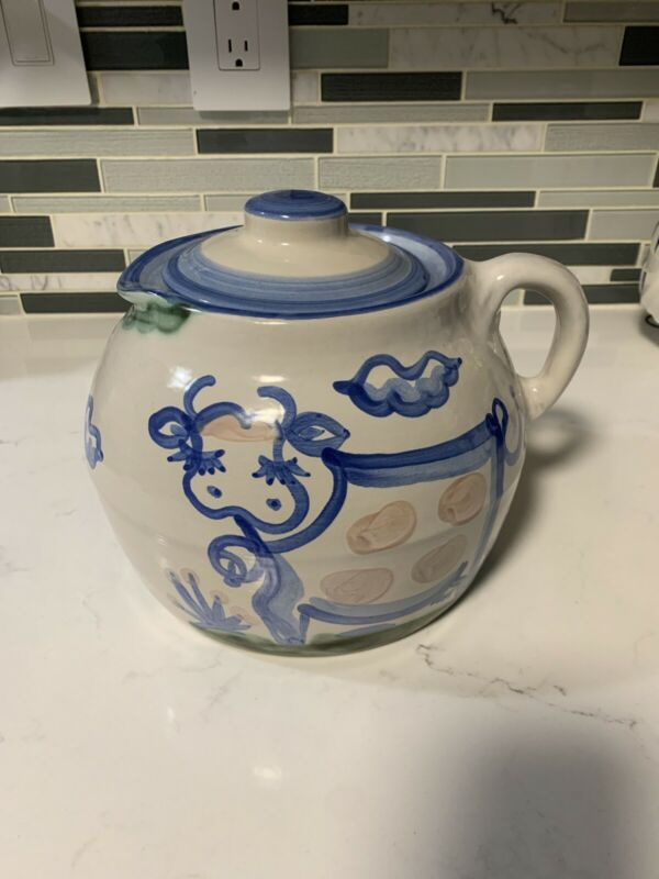 M.A. HADLEY COUNTRY SCENES BLUE BEAN POT WITH LID