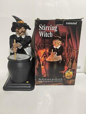 "Stirring Witch Mechanical Battery Gemmy Halloween Talks Green Eyes Flash 16"""