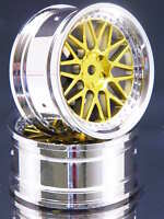 Pack Of 2 Rc-car Rims 1:10 Bbs Style In Chrome/gold With 3mm Offset Fbbcg3 - checker kings - ebay.co.uk