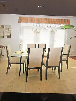 6 Dining chairs set Micro Fabric Suede -Beige/Dark Brown solid wood framing Dark Brown Dining Set